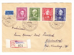 D - BRD 15.11.1950 Regensburg Sonderstempel 1. Deutsche Farbfilm Mit Serie Mi.#117-120 Auf R-Brief Nach Glaubendorf - BRD