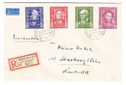 D - BRD 25.3.1950 Mittenwald R-Brief Nach Marburg Mit Serie Mi.#117-120 - BRD