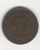 """Médaille Napoléon III 1853 Module De 10 Centimes Barré """"Visite De LL.MM.II. 23.24 Sept"""" - France"""