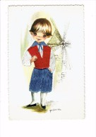 Illustrator GALLARDA - Garçon En Costume - Spain Espana - Carte Brodée - Moulin - Brodées