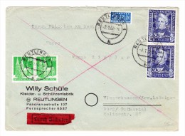 D - BRD ?.1.1950 Reutlingen Eilboten Brief Nach Winzerhausen Mit U.a. Mi.#120 Senkrechtes Paar - BRD