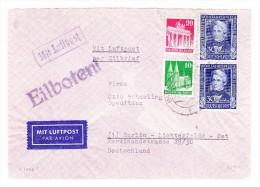 D - BRD 3.5.1950 Geislingen Eilboten Luftpost Brief Nach Berlin Mit U.a. Mi.#120 Senkrechtes Paar - BRD