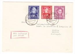 D - BRD 25.2.1950 Hamburg Brief Nach Lisboa Portugal Mit  Mi.#117 - 118 - 120 Mit AK-Stempel - BRD