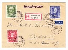D - BRD 30.8.1950 München 33 Einschreiben Brief Nach Lindau Mit  Mi.#118 - 119 - 120 - BRD