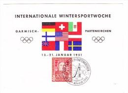 D - Mi.#119 EF Garmisch-Partenkirchen 19-1-1951 Int. Wintersportwoche Sonderstempel Mit Postkarte übereinstimmend - BRD
