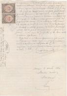 Timbres Fiscaux Dimension Copies 50c  Document 1890 Par   Huissier PEQUINOT à SELONGEY  ( M20 ) - Fiscaux