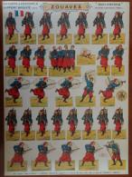 """SOLDATS à Découper Planche N°15 ZOUAVES ARMEE FR """"PRO PATRIA"""" ED H BOUQUET Soldats Imprimés Recto Verso 28cmx39cm - 1914-18"""