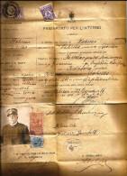 PASSAPORTO PER L'INTERNO -BUONA CONSERVAZIONE -1916 - Historische Documenten