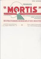 BUVARD PUBLICITE -  MORTIS - DESTRUCTION DES RONGEURS ET DES INSECTES -MONTREUIL SOUS BOIS - Papel Secante