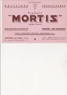 BUVARD PUBLICITE -  MORTIS - RATICIDES -INSECTICIDES -MONTREUIL SOUS BOIS - Blotters