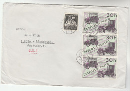 1969 CZECHOSLOVAKIA COVER  3x CLASSIC 1900 CARS Stamps To Germany Car - Cars