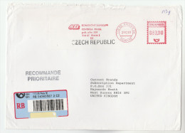 2001 REGISTERED  CZECH REPUBLIC COVER METER Stamps SLOGAN KOMERCNI BANKA  Praha Bank To GB Banking Finance - Lettres & Documents