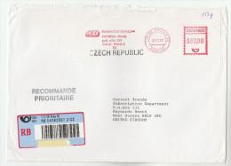 2001 REGISTERED  CZECH REPUBLIC COVER METER Stamps SLOGAN KOMERCNI BANKA  Praha Bank To GB Banking Finance - Czech Republic