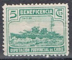Viñeta Guerra Civil  5 Cts Verde  Beneficencia CADIZ Diputacion Barco * - Viñetas De La Guerra Civil
