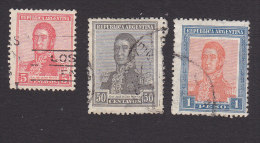 Argentina, Scott #236, 242-243, Used, Jose De San Martin, Issued 1917 - Used Stamps