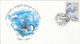 BELGICA ANTARCTIC EXPEDITION, SHIP, PENGUINS, EMIL RACOVITA, SPECIAL COVER, 1997, ROMANIA - Antarctische Expedities