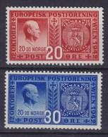 Norway 1942 Mi. 274-75  Gründung Des Europäischen Postvereins In Wien Vidkun Quisling Complete Set MH* - Norwegen