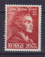 Norway 1942 Mi. 273   20 Ø Johan Herman Wessel MH* - Norwegen