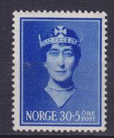 """Norway 1939 Mi. 206    30 Ø + 5 Ø Hilfsfond """"Königin Maud"""" Für Kinder MH* - Ungebraucht"""