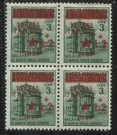 OCCUPAZIONE JUGOSLAVIA TRIESTE 1945 LIRE 2 SU 3 QUARTINA BLOCK MNH