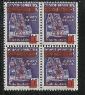 OCCUPAZIONE JUGOSLAVIA TRIESTE 1945 LIRE 5 SU 5 SU 1 QUARTINA BLOCK MNH