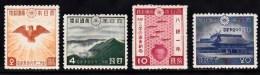 Japan 1940 Set/4 Golden Kite,Mt.Takachiho,Fish, Sake Jar, Shrine  299-302