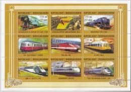 Madagaskar MiNr. 2054/62 A ** Transportmittel: Eisenbahnen, Autos, Flugzeuge - Madagaskar (1960-...)