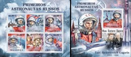 Mozambico 2011, Space, russian astronauts, 6val in BF +BF