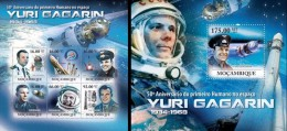 Mozambico 2011, Space, Yuri Gagarin, 6val in BF +BF