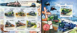 Mozambico 2011, Steam locomotives, 6val in BF +BF