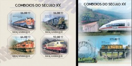Mozambico 2011, Trains of the 20th century, 4val in BF +BF