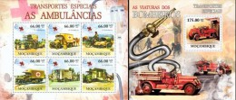 Mozambico 2011, Transports, Ambulances, Red Cross, fire engines, 6val in BF +BF