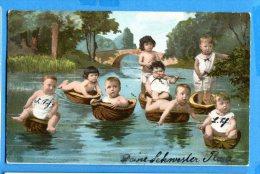 T109, Bébés Dans Des Coquilles De Noix,  Fantaisie, Relief, Circulée 1906 - Neonati