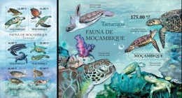 Mozambico 2011, Turtles, 6val in BF +BF