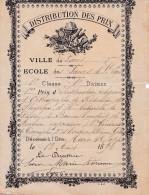 DISTRIBUTION DES PRIX  PARIS 1892 (dil83) - Diploma's En Schoolrapporten