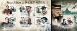 Mozambico 2011, War World II, De Gaulle, Churchill, Truman, 6val in BF +BF