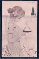 Kirchner Raphael ?  Art Nouveau, Femme Et Fleurs Litho (MMV 11.3.01) Plis D´angles - 1900-1949