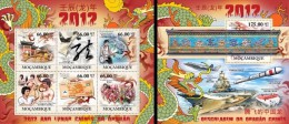 Mozambico 2011, Year of the dragon, 6val in BF +BF