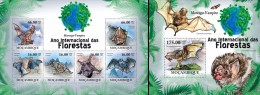 Mozambico 2011, Year of the forest, Bats, 6val in BF +BF