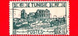 TUNISIA - Usato - 1945 - Anfiteatro Di El Jem - Thysdrus - 20 - Oblitérés
