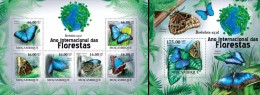Mozambico 2011, Year of the forest, Butterflies II, 6val in BF +BF