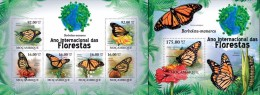 Mozambico 2011, Year of the forest, butterflies III, 6val in BF +BF