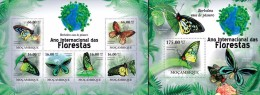 Mozambico 2011, Year of the forest, butterflies, 6val in BF +BF