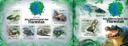 Mozambico 2011, Year of the forest, crocodrilles, 6val in BF +BF