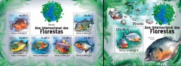 Mozambico 2011, Year of the forest, fishes, piranhas, 6val in BF +BF