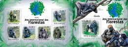 Mozambico 2011, Year of the forest, gorillas, 6val in BF +BF