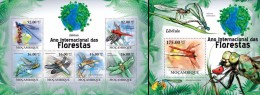 Mozambico 2011, Year of the forest, Insects, dragon fly, 6val in BF +BF