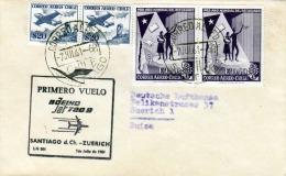 CHILE Brief 1961 / Flugpostbrief 4 Fach Frankiert - Chile