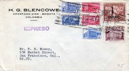 COLUMBIEN 194? - 7 Fach Frankierung Auf Brief Von Bogota Colombia > San Francisco - Kolumbien