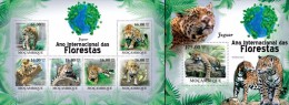Mozambico 2011, Year of the forest, Jaguars, 6val in BF +BF